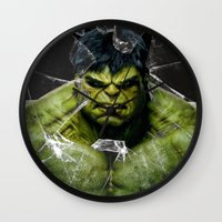 lannister Wall Clocks featuring Angry HULK  by bimorecreative