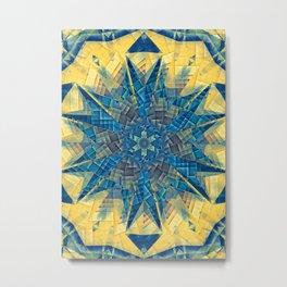 mandala -mosaic blue and yellow Metal Print
