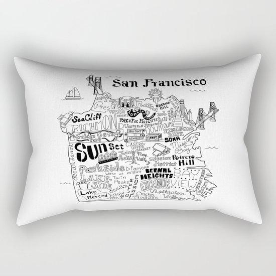 San Francisco Map Illustration Rectangular Pillow