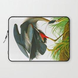 Great blue heron John James Audubon Vintage Scientific Bird Illustration Laptop Sleeve