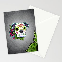Boxer in White- Day of the Dead Sugar Skull Dog Stationery Cards