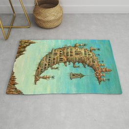 'Living on the Moon' surrealist landscape painting Rug