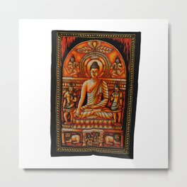 Vintage art Buddha Meditation Orange Batik Wall Hanging  Metal Print