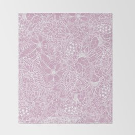 Modern trendy white floral lace hand drawn pattern on mauve pink lavender Throw Blanket