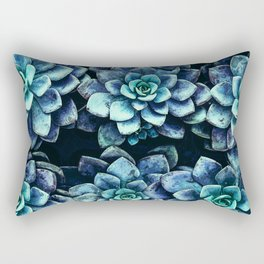 Blue And Green Succulent Plants Rectangular Pillow