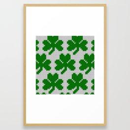 Shamrock pattern - white, green Framed Art Print