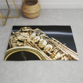 Alto saxophone black background Rug