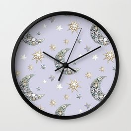 Vintage Button Moon and stars on grey Wall Clock