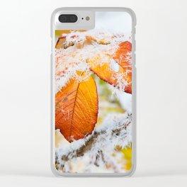 Rose bush frozen leaves Clear iPhone Case