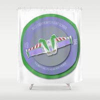 buzz lightyear Shower Curtains featuring pixar disney toy story. buzz lightyear flight school  by studiomarshallarts