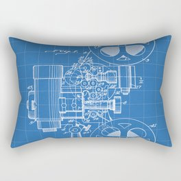 Film Projector Patent - Cinema Art - Blueprint Rectangular Pillow