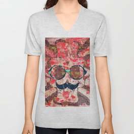vintage old skull portrait with red poppy flower field abstract background Unisex V-Neck