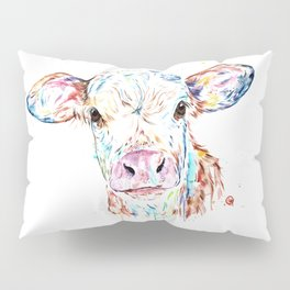 Manitoba Cow - Colorful Watercolor Painting Pillow Sham