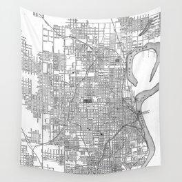 Vintage Map of Omaha Nebraska (1901) BW Wall Tapestry