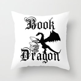 Book Dragon Throw Pillow