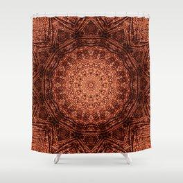 Knit pattern kaleidoscope copper Shower Curtain