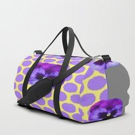 PURPLE SPRING PANSIES  LILAC POLKA DOT  PATTERN Duffle Bag