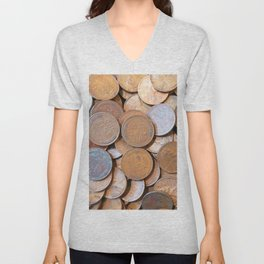 Watercolor Coins, Lincoln Wheat Pennies, 1939 02 Unisex V-Neck