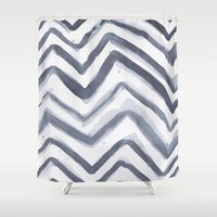 water colour Shower Curtains featuring Black Water Colour Chevrons by Stephen John Bryde