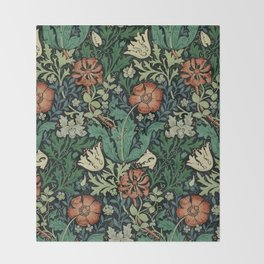 William Morris Compton Floral Art Nouveau Pattern Throw Blanket