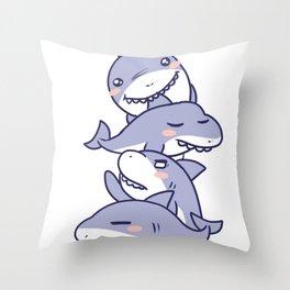 Cute Family Shark Gift for Shark Themed Parties Throw Pillow