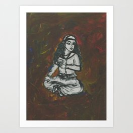 Girl Sits with Tea Art Print