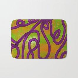 """Galactic Ribbon"" (Purple/Orange/Lime) Digital Painting // Fine Art Print Bath Mat"