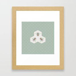 Hand drawing Bee on stylized honeycombs Framed Art Print