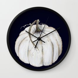 White pumpkin on navy Wall Clock