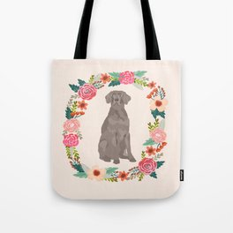 weimaraner floral wreath dog breed pure breed pet portrait Tote Bag