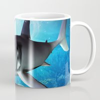 shark Mugs featuring Shark by nicky2342