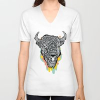 bison V-neck T-shirts featuring Bison by casiegraphics