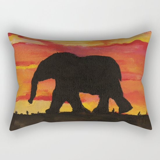 Baby Elephant Sunset Landscape Rectangular Pillow