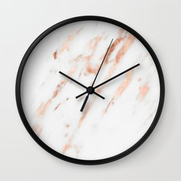 Pink Quartz Marble Rose Gold White Wall Clock