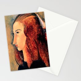 """Amedeo Modigliani """"Portrait of a young woman (Profile of Jeanne Hebuterne)"""" Stationery Cards"""