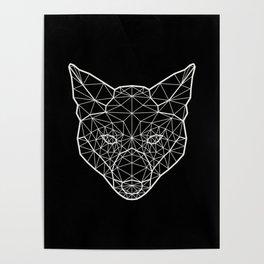 Geometric / Low Poly Fox (White) Poster