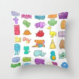 Furrry Monsters Throw Pillow