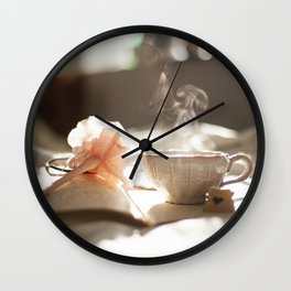 Morning Reflections- journal with a flower pen and a hot drink Wall Clock