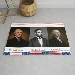 Three patriotic portraits of three great presidents :lincoln,washington and jefferson Rug