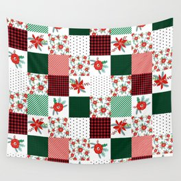 Plaid quilt pattern outdoors nature forest christmas holidays gifts Wall Tapestry