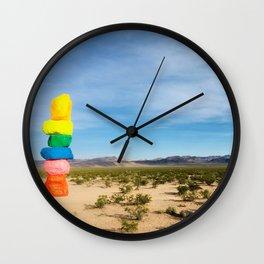 Seven Magic Mountains | Highway Landmark Blue Sky Desert Wilderness Wall Clock