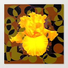 Decorative Modern Golden Iris Brown-Black Pattern Floral Canvas Print