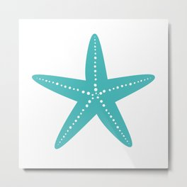 Starfish (Teal & White) Metal Print
