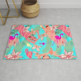 Tropical flamingos Rug