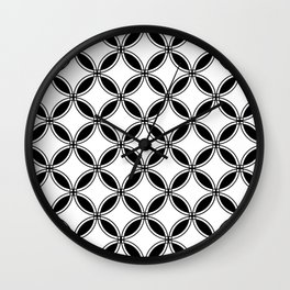 Large Black and White Geometric Circles Wall Clock