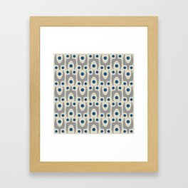 Mid Century Modern Abstract Pattern 149 Gray and Blue Framed Art Print