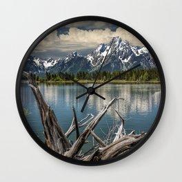 Tree Stump on the Northern Shore of Jackson Lake at Grand Teton National Park Wall Clock