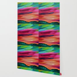 ROSY SKY OVER THE HILLS - Abstract Sky Oil Painting Wallpaper