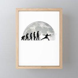 Fencing Evolution Moon Fencer Framed Mini Art Print