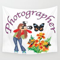 photographer Wall Tapestries featuring Photographer Photographing Nature by Michael P. Moriarty